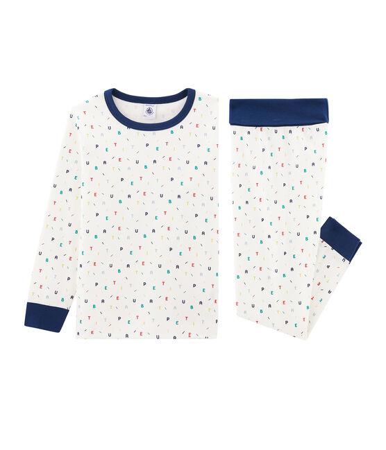 Pyjama petit garçon taille montante en côte blanc Marshmallow / blanc Multico