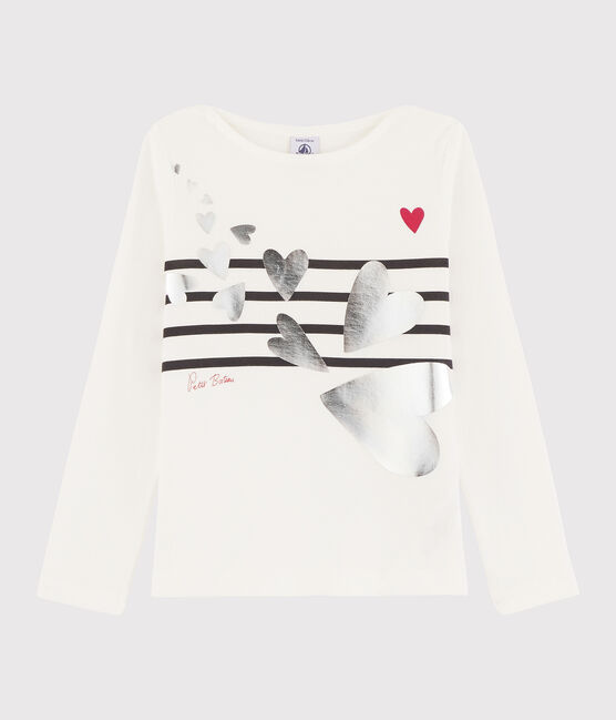 Tee-shirt sérigraphié enfant fille blanc Marshmallow