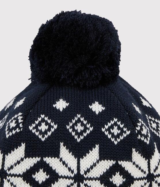 Bonnet de ski enfant fille/garçon bleu Smoking / blanc Marshmallow