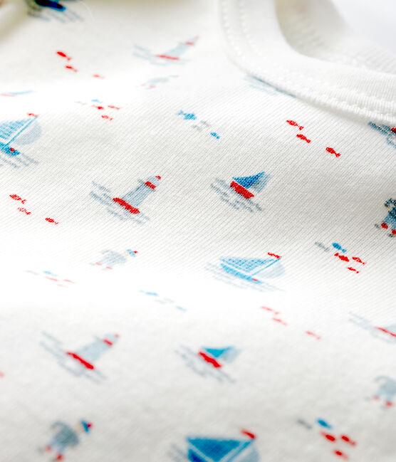 Body unitaire manches courtes à imprimé marin bébé blanc Marshmallow / blanc Multico