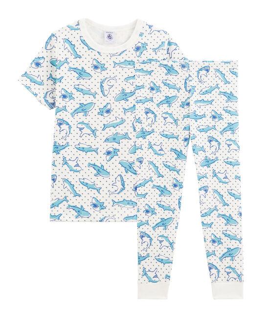 Pyjama petit garçon imprimé requin en côte blanc Marshmallow / blanc Multico