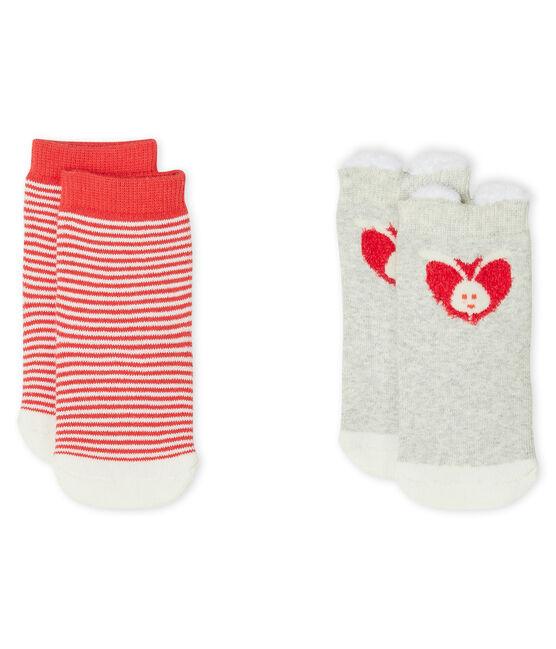 Lot de 2 paires de chaussettes bébé mixte gris Beluga / blanc Marshmallow