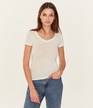 Tee shirt manches courtes col v femme