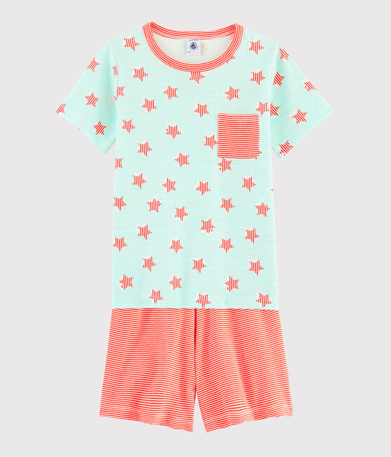 Pyjama rayé à étoiles petit garçon en côte blanc Marshmallow / blanc Multico