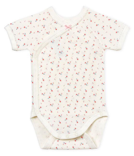 Body naissance manches courtes bébé fille blanc Marshmallow / blanc Multico