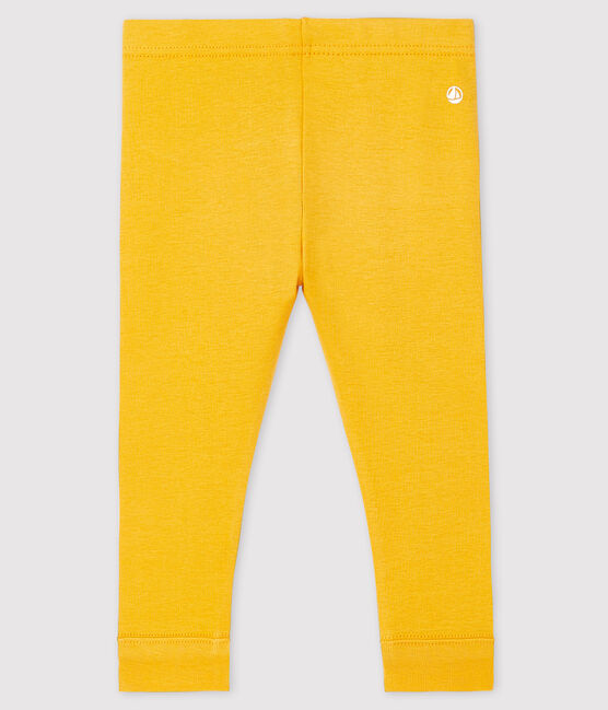 Legging bébé fille en côte 1x1 unie jaune Boudor