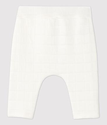 Pantalon blanc matelassé bébé en coton biologique