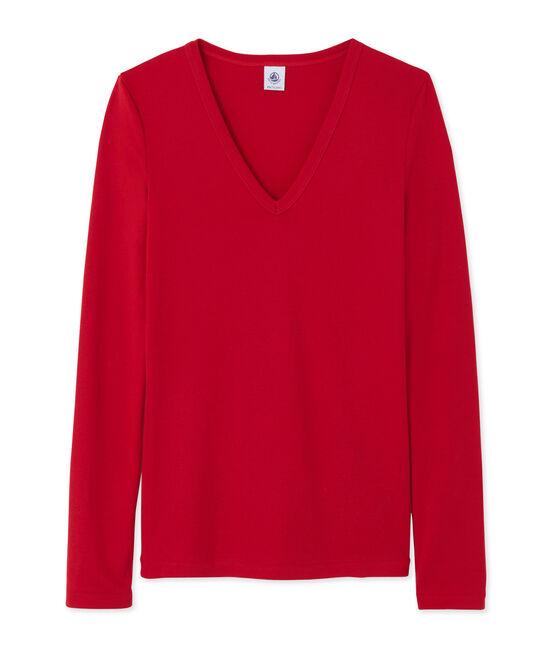 T-shirt femme manches longues col V rouge Mars