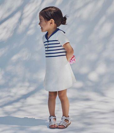 Robe bébé fille en jersey lourd blanc Marshmallow / bleu Smoking
