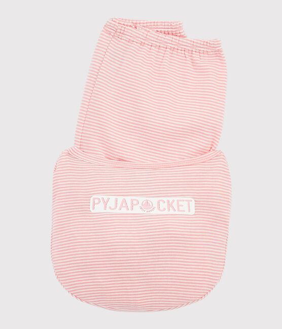 Pyjama à rayures milleraies petite fille en côte rose Gretel / blanc Marshmallow