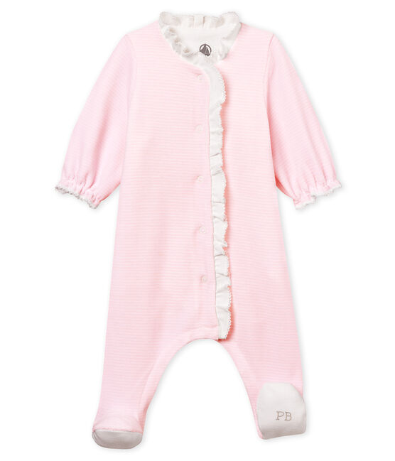 Bodyjama bébé fille en velours milleraies rose Pearl / blanc Multico