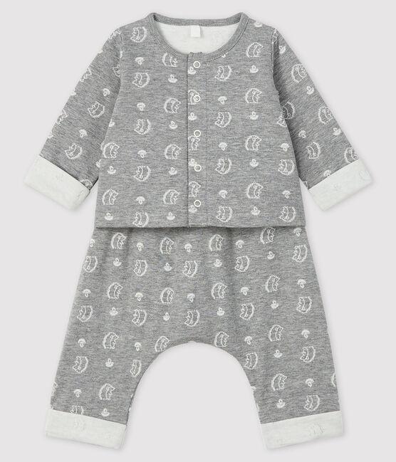 Ensemble 2 pièces jacquard bébé en tubique gris Subway / blanc Marshmallow