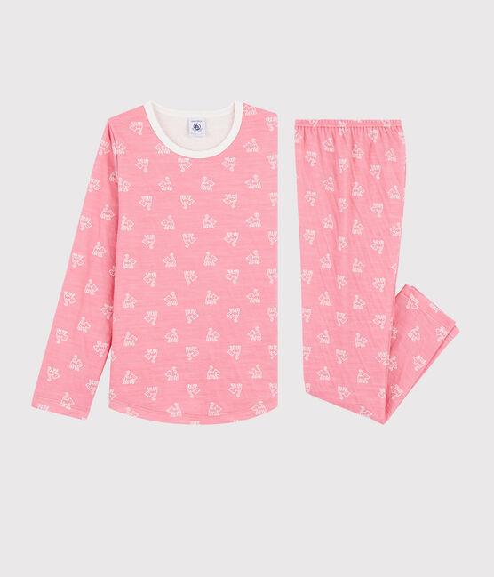 Pyjama jacquard chats petite fille en laine et coton rose Cheek / blanc Marshmallow