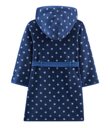 Robe de chambre enfant en polaire bleu Medieval / blanc Marshmallow