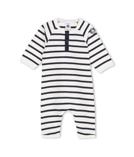 Combinaison bébé garçon en jersey lourd rayé beige Coquille / bleu Abysse