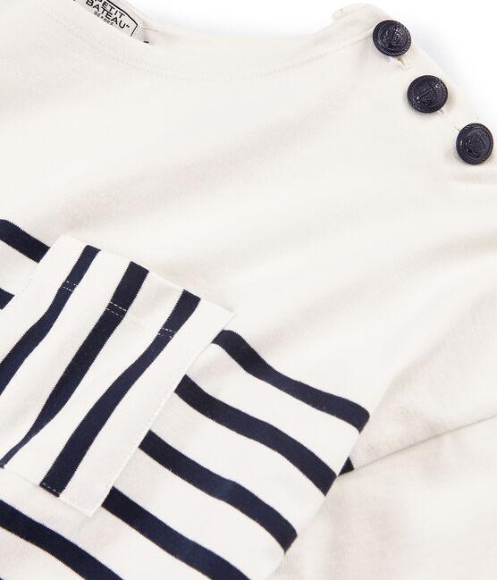 Marinière manches courtes femme blanc Marshmallow / bleu Smoking