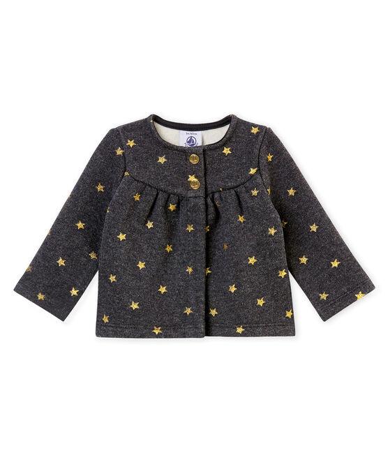Cardigan bébé fille imprimé étoiles dorées noir City / jaune Dore