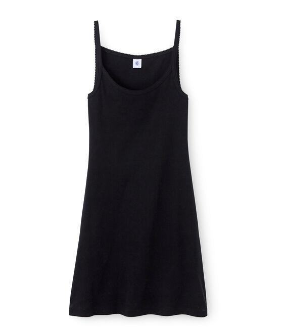 Chemise à bretelles femme coton/laine/soie noir Noir