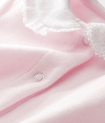 Dors bien bébé fille en velours de coton uni rose Vienne