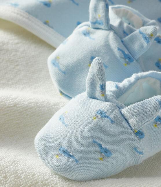 Coffret carré de bain et chaussons bébé en éponge et côte bleu Fraicheur / blanc Multico