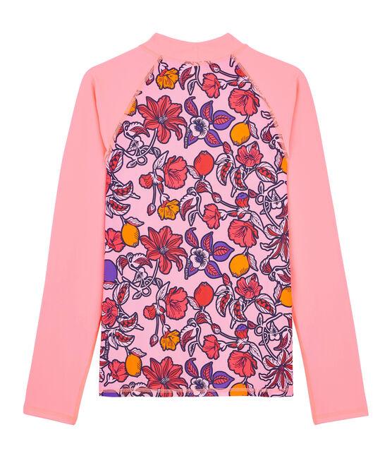 Tee shirt anti-UV UPF 50+ écoresponsable rose Patience / blanc Multico