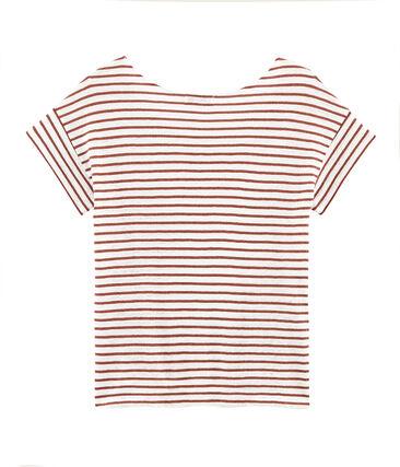 Tee-shirt manches courtes femme en lin blanc Marshmallow / rose Copper