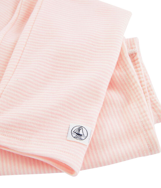 Legging enfant en laine et coton rose Charme / blanc Marshmallow