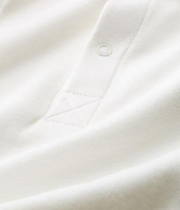 Body manches courtes col polo bébé garçon uni blanc Marshmallow Cn