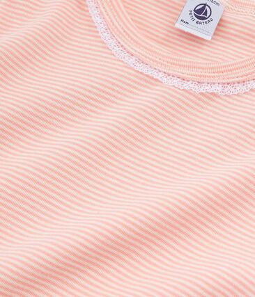 Pyjama à manches courtes petite fille en côte rose Rosako / blanc Marshmallow