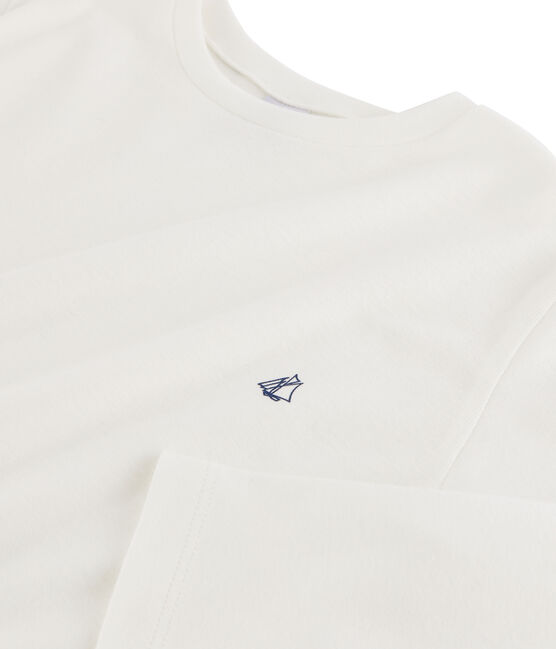 Tee shirt manches longues enfant garçon blanc Marshmallow