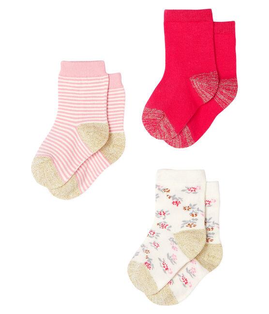 Lot de 3 paires de chaussettes bébé fille rose Charme