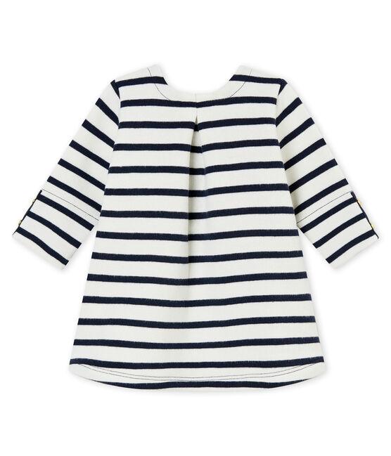 Robe iconique bébé fille blanc Marshmallow / bleu Smoking