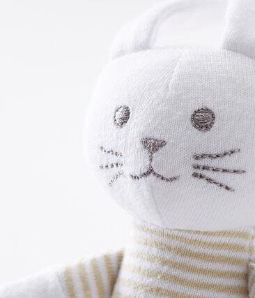 Doudou lapin hochet bébé mixte beige Perlin / blanc Marshmallow