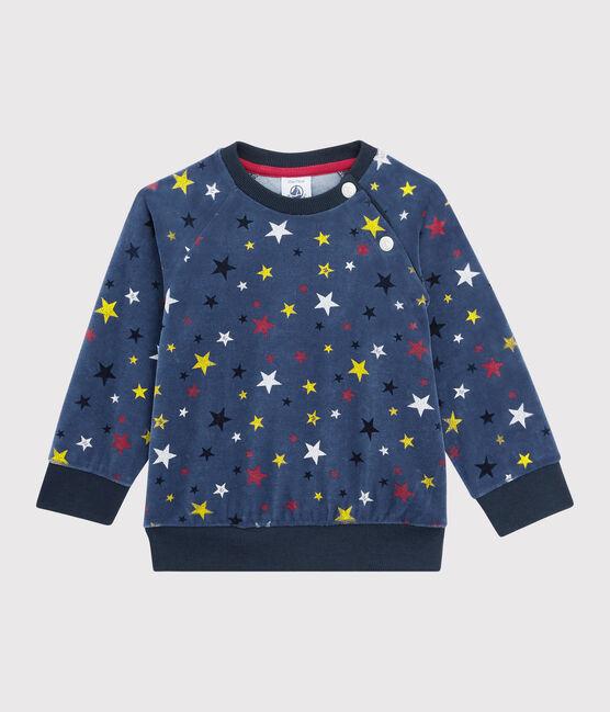 Sweatshirt bébé garçon en velours bleu Medieval / blanc Multico