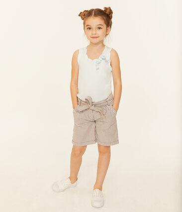 Short enfant fille rouge Vino / blanc Marshmallow