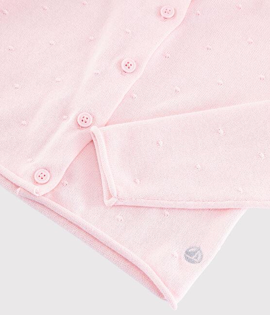 Cardigan en tricot coton enfant fille rose Minois