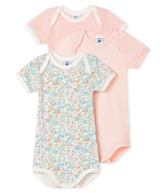 Lot de 3 bodies manches courtes pastel bébé fille lot .