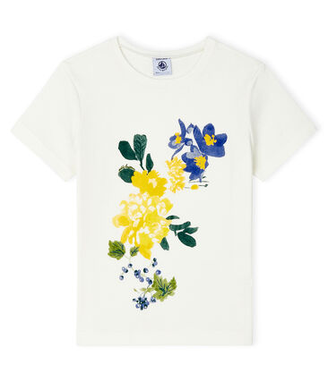 Tee-shirt manches courtes enfant fille blanc Marshmallow