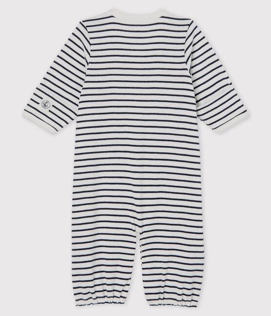 Combisac à rayures bébé en coton biologique blanc Marshmallow / bleu Smoking