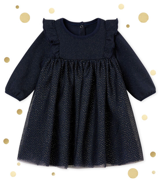 Robe paillettée bébé fille bleu Smoking / jaune Dore