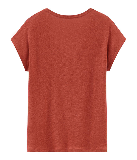 Tee-shirt manches courtes uni femme en lin irisé orange Ombrie / rose Copper