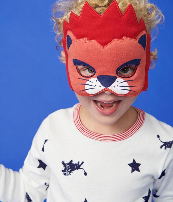 Pyjama enfant à motifs lion en côte blanc Marshmallow / bleu Medieval