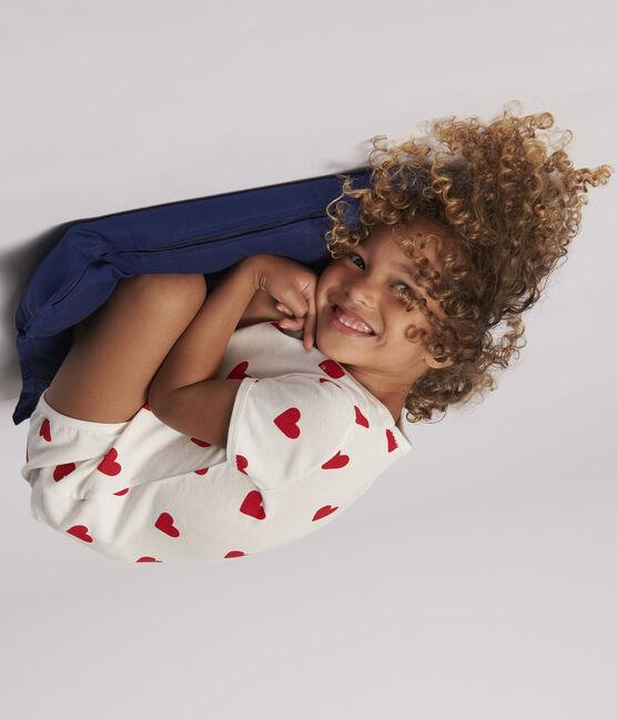 Pyjacourt cœur petite fille en coton biologique blanc Marshmallow / rouge Terkuit
