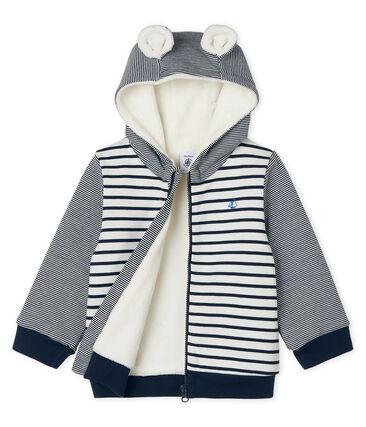 Sweatshirt à capuche bébé garçon en rayure marinière doublé de sherpa blanc Marshmallow / bleu Smoking Cn
