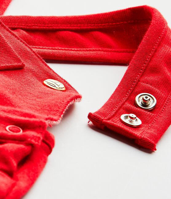 Salopette courte bébé fille en jersey lourd rouge Terkuit