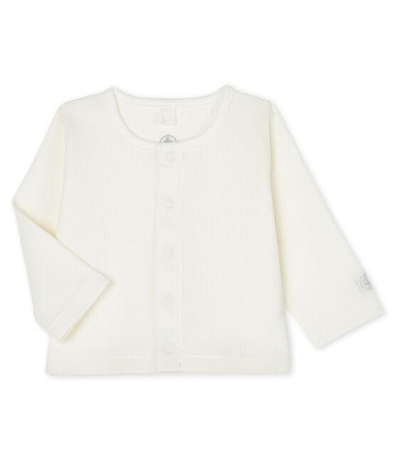 Cardigan bébé en côte 2x2 blanc Marshmallow