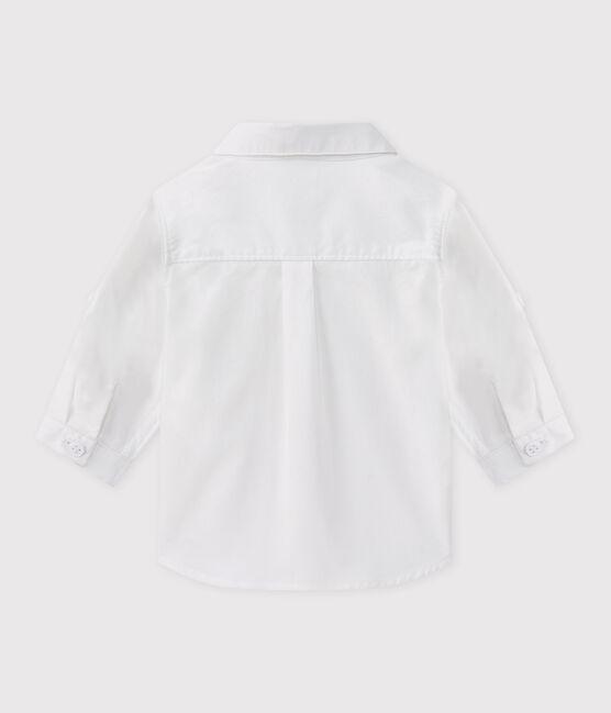 Chemise manches longues en oxford bébé garçon blanc Ecume