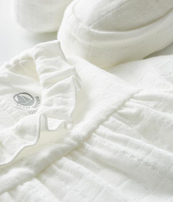 Ensemble combinaisons et chaussons bébé en tissu lange blanc Marshmallow