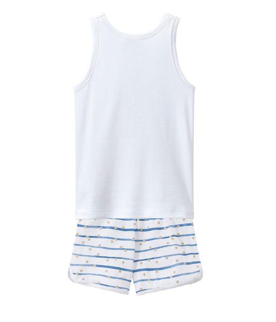 Pyjacourt petite fille blanc Ecume / bleu Bleu