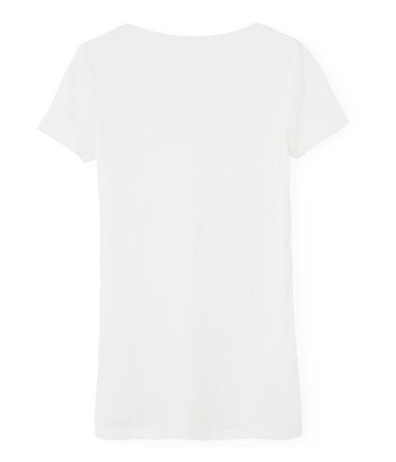 Tee shirt manches courtes col v femme blanc Marshmallow
